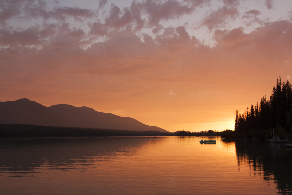 Sunset across Big Bar Lake in the Cariboo of BC, Canada